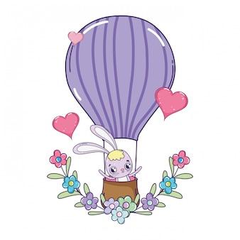 Милый кролик летать на воздушном шаре жаркий день святого валентина