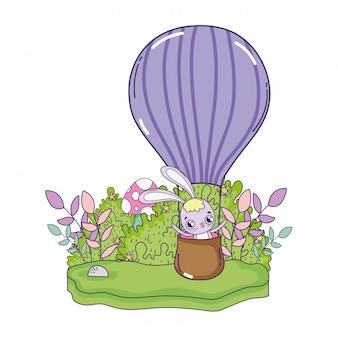 気球熱いバレンタインデーを飛んでいるかわいいウサギ