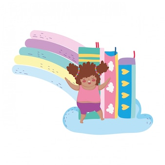 虹と本のぽっちゃり少女