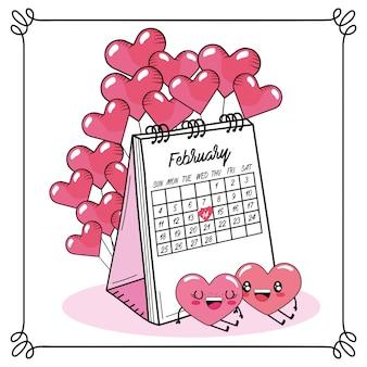 Сердца пара с воздушными шарами и календарь на день валентинок