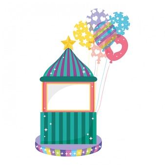 ヘリウム風船でかわいいカーニバルキオスク