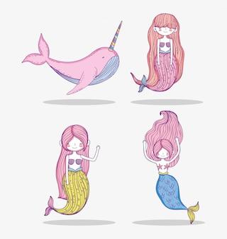 かなり人魚の女性とセットクジラユニコーン