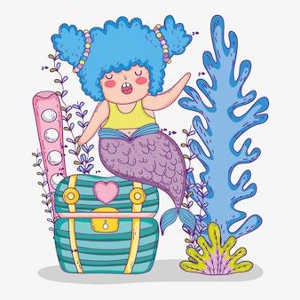Русалка женщина с растениями сундук и водорослей