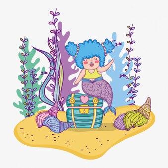 Русалка женщина в сундуке с раковинами и ветвями листьев