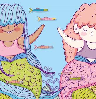 Симпатичные русалки с рыбками и ветками листьев