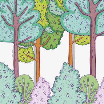 茂みの植物や葉と自然の木