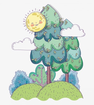 雲と山の中の自然の木々と太陽