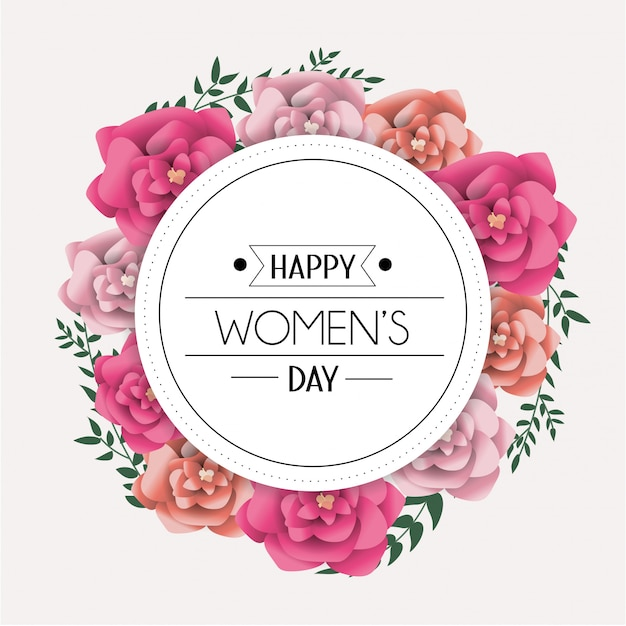 女性の日のお祝いへのサークルステッカー