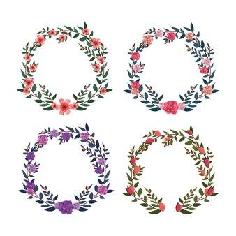 Набор цветов и роз с кругом ветвями листьев