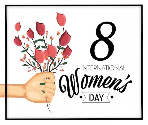 女性の日のお祝いにバラの植物と手