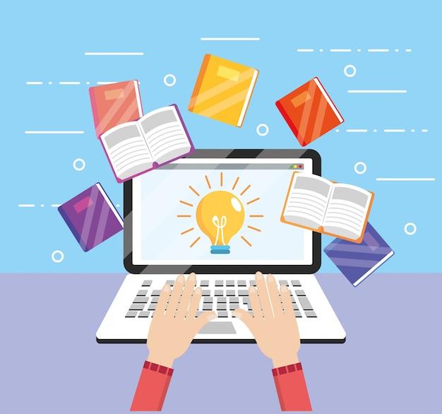 教育本とラップトップの技術を学ぶ