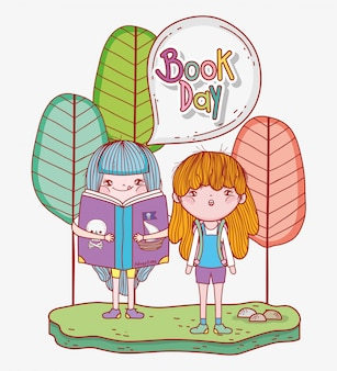 女の子が木で文学の本を読む