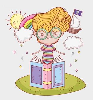少年は雲で文学の本を読む