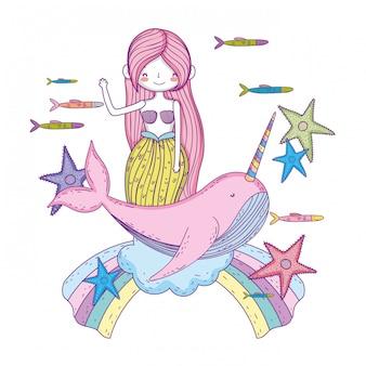 狭いおとぎ話の文字を持つ美しい人魚
