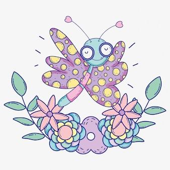 花植物と葉を持つ美蝶