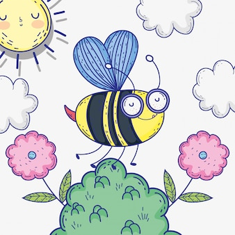 Пчела насекомое животное с цветами и облаками