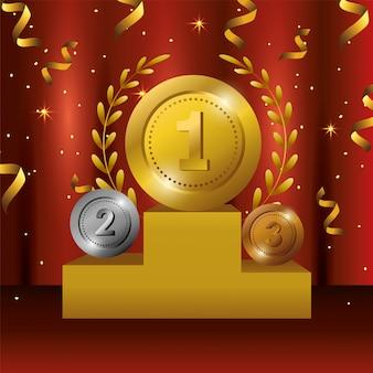 コインがチャンピオンの勝利を祝う