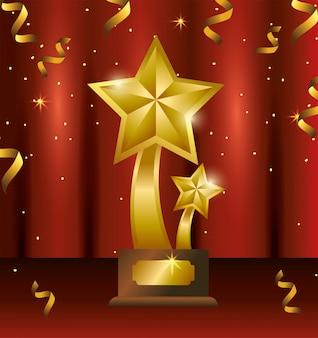受賞者のお祝いに紙吹雪で星賞