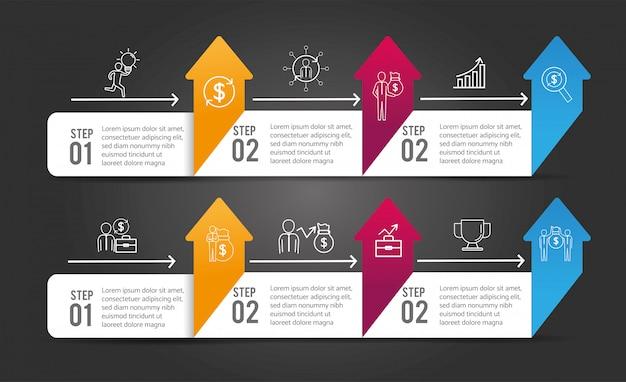 ビジネスインフォグラフィック戦略プロセスの成功