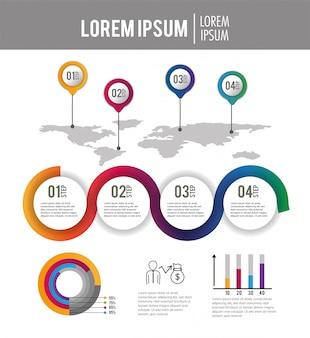 ビジネスインフォグラフィックプロセス戦略レポート
