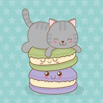 かわいいドーナツかわいいキャラクターとかわいい猫