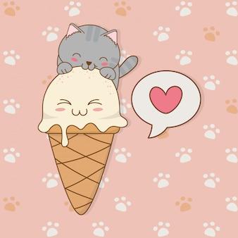 アイスクリームかわいいキャラクターとかわいい小さな猫