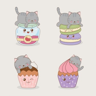絵文字かわいいキャラクターとかわいい小さな猫