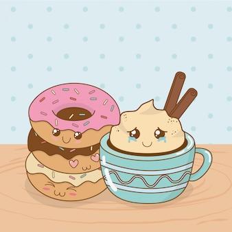 Вкусные шоколадные чашки и сладкие блюда каваий персонажей