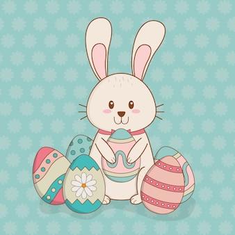 イースターのキャラクターを描いた卵と小さなウサギ