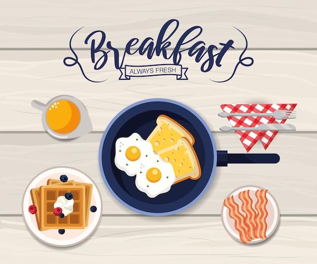 ベーコンとワッフルの朝食とおいしい目玉焼き