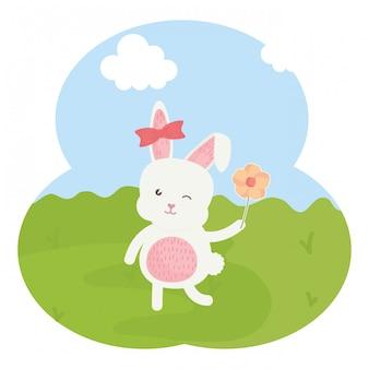 フィールドでかわいいウサギの女性