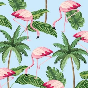 熱帯のフラミンゴ動物とヤシの背景