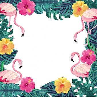 フラミンゴ動物と葉のエキゾチックな花