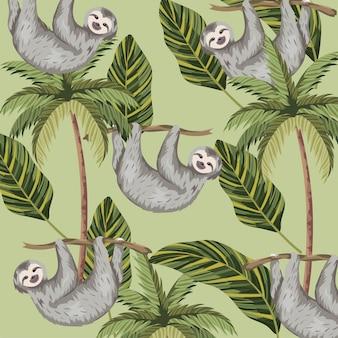 熱帯のヤシと葉の背景とナマケモノ