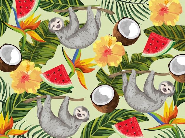 熱帯のココナッツとエキゾチックな花のナマケモノ