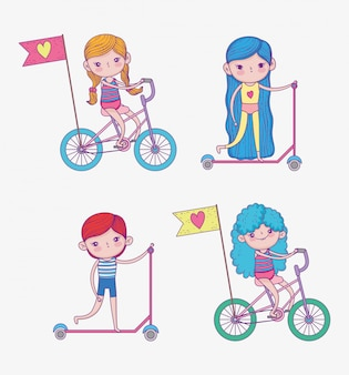 スクールと自転車に乗る女の子と男の子のセット