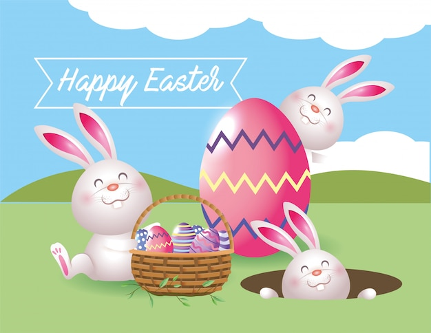 バスケットの中のイースターエッグの装飾が付いているウサギ