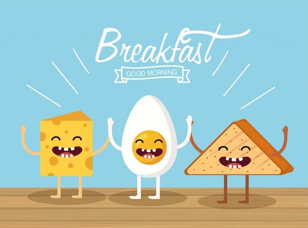 Счастливое жареное яйцо с сыром и треугольным хлебом