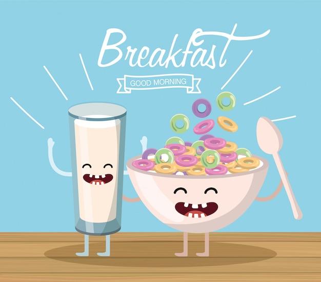 Счастливый стакан молока с хлопьями чашкой и ложкой