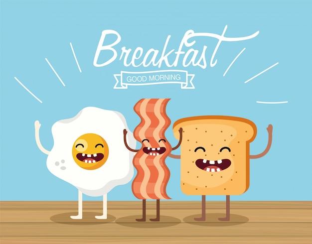Счастливое жареное яйцо с беконом и нарезанным хлебом
