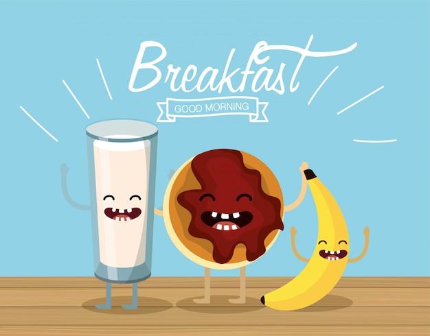 Счастливый стакан молока с печеньем и бананом
