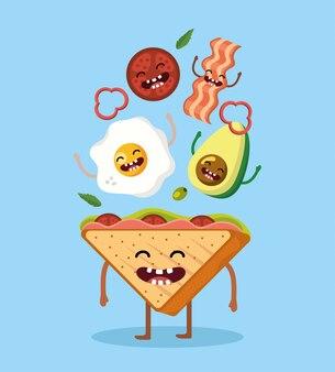 Счастливый треугольный хлеб и вкусная еда на завтрак