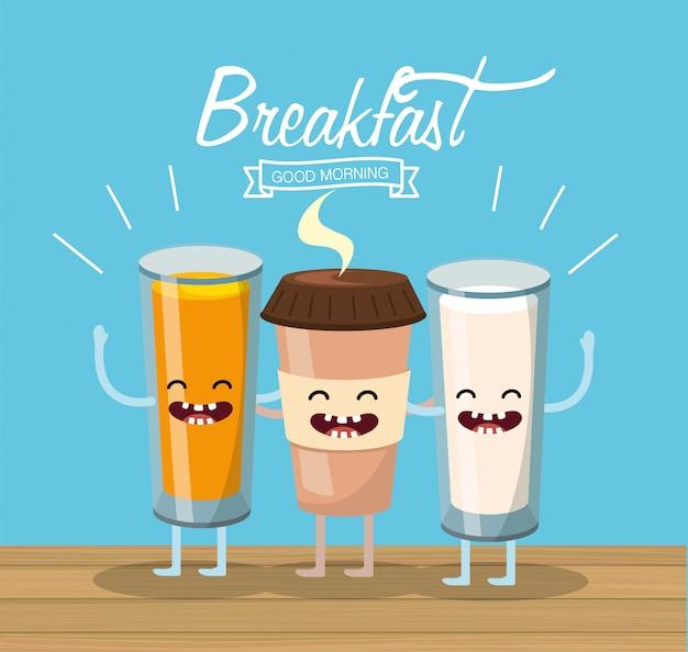 Счастливый апельсин с кофейной пластиковой чашкой и стаканом молока