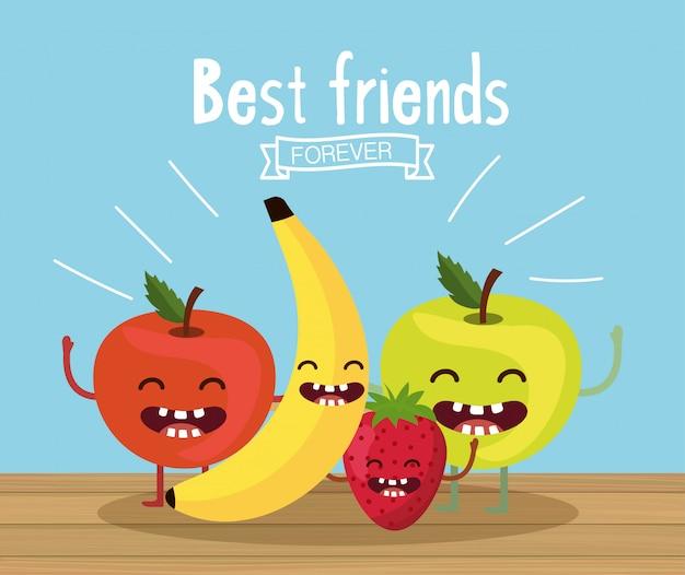 Счастливые и вкусные яблоки с бананом и клубникой