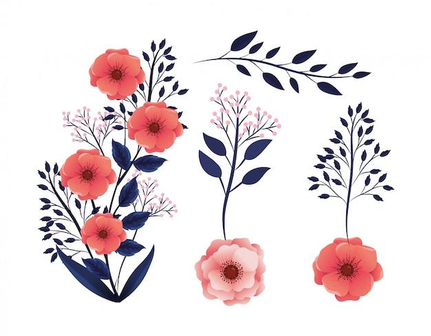 エキゾチックな枝葉と熱帯の花植物を設定します。