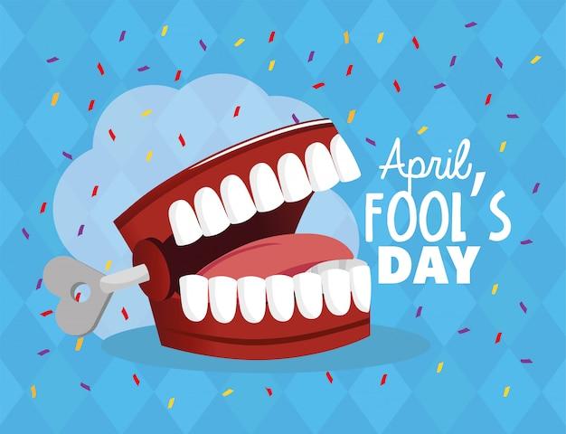 愚か者の日のお祝いに狂った歯