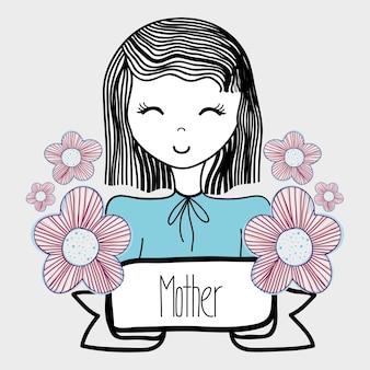 母の日、花とリボンの女性