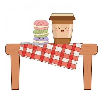 Набор хлебобулочных продуктов питания каваи в стол для пикника