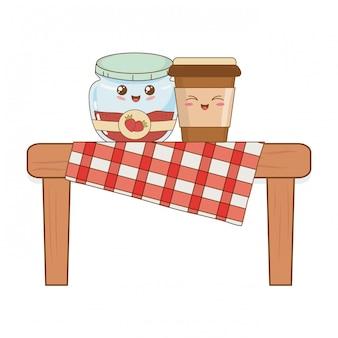 ピクニックテーブルのベーカリー食品かわいいのセット