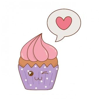 スピーチの泡ハートかわいいキャラクターと甘いカップケーキ